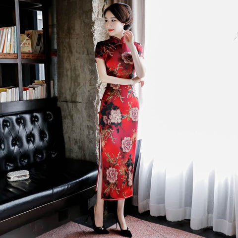 Womens Grace Wedding Dress Chinese Lady Long Cheongsam S-3XL WXG395