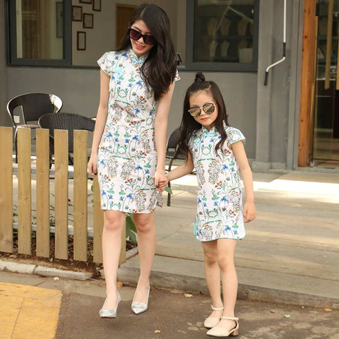 asymmetric floral mom and child dress
