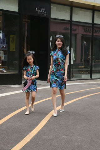 blue printing cheongsam dress