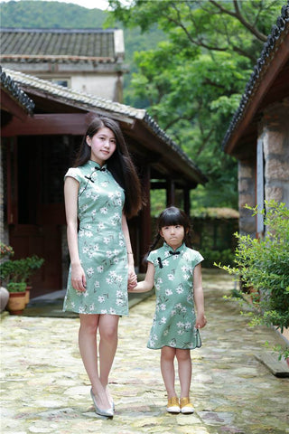 light green mom and kid dress
