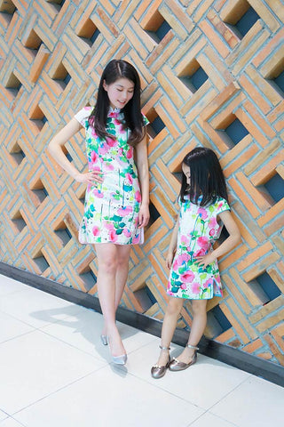 mother and daughter chinese dress