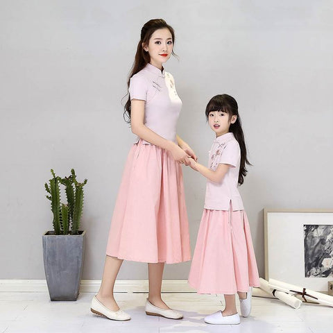 Chinese Folk Style Dress For Mom And Kid Parent-Child Cheongsam XLY005
