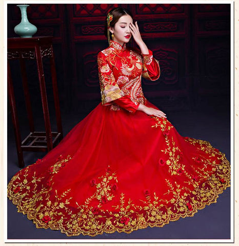 chinese red silk dress