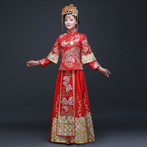 0a9d6a255 Hand Embroidery Qipao Wedding Gowns Red