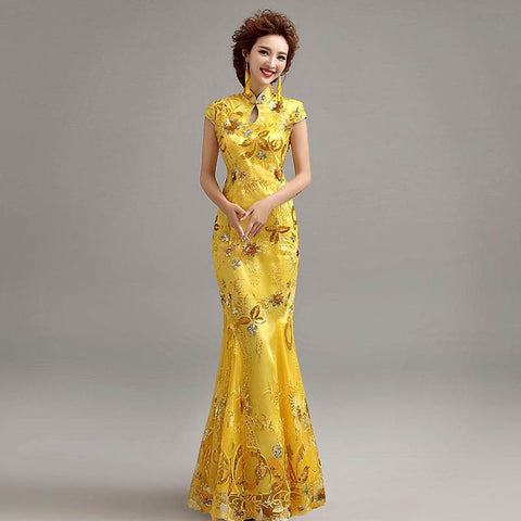 mermaid cheongsam dress