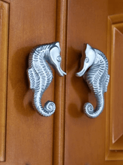 Seahorse cabinet knobs installed
