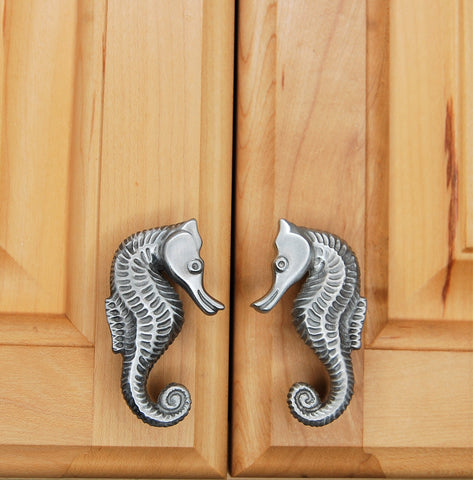 Small seahorse cabinet knob matched set