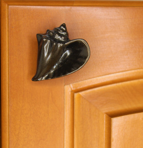 dark bronze conch cabinet knob