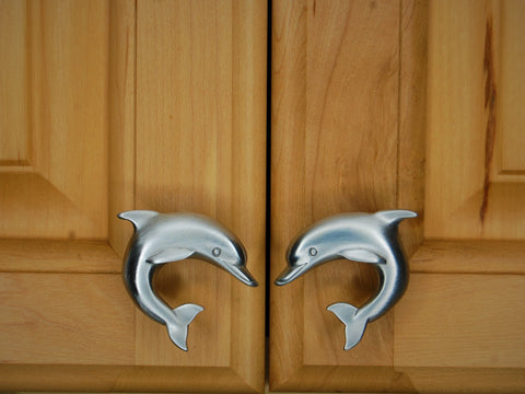 matching pair dolphin cabinet knobs