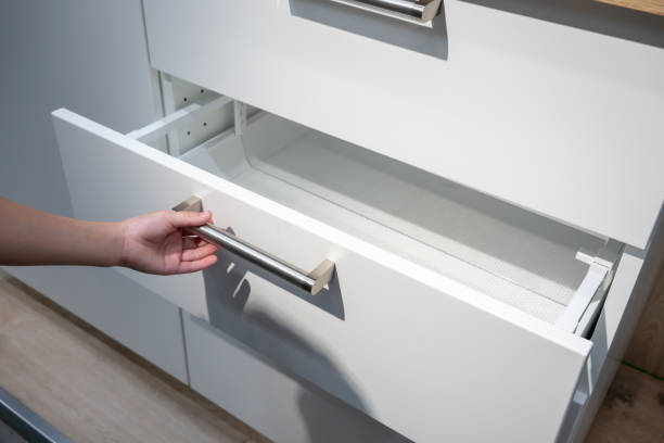 Cabinet pull installed on drawer