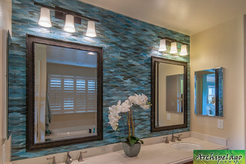 Tropical themed bathroom with orchid decoration
