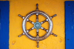 Ships wheel mounted on a wall