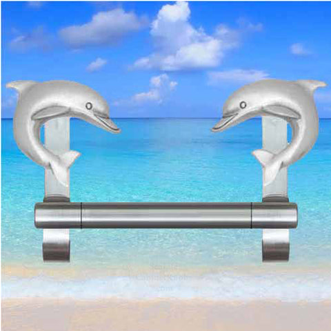 Double dolphin towel bar