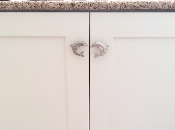 dolphin cabinet knob set installed