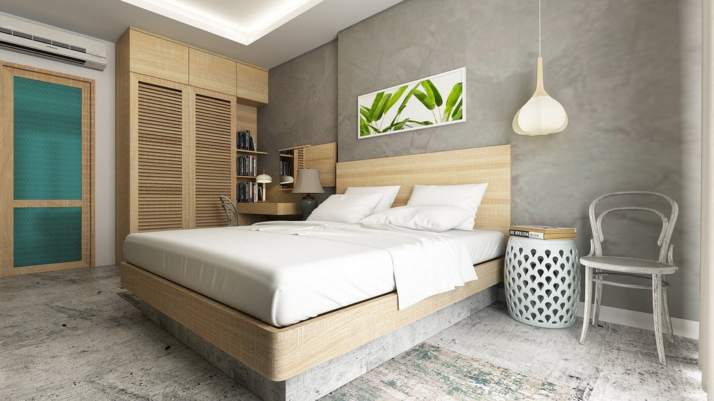 Bedroom with palm frond picture