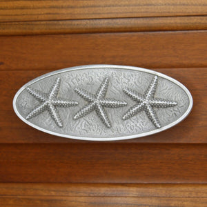 Starfish Bezel Triple Drawer Pull, 140H, Large size - Sea Life Cabinet Knobs