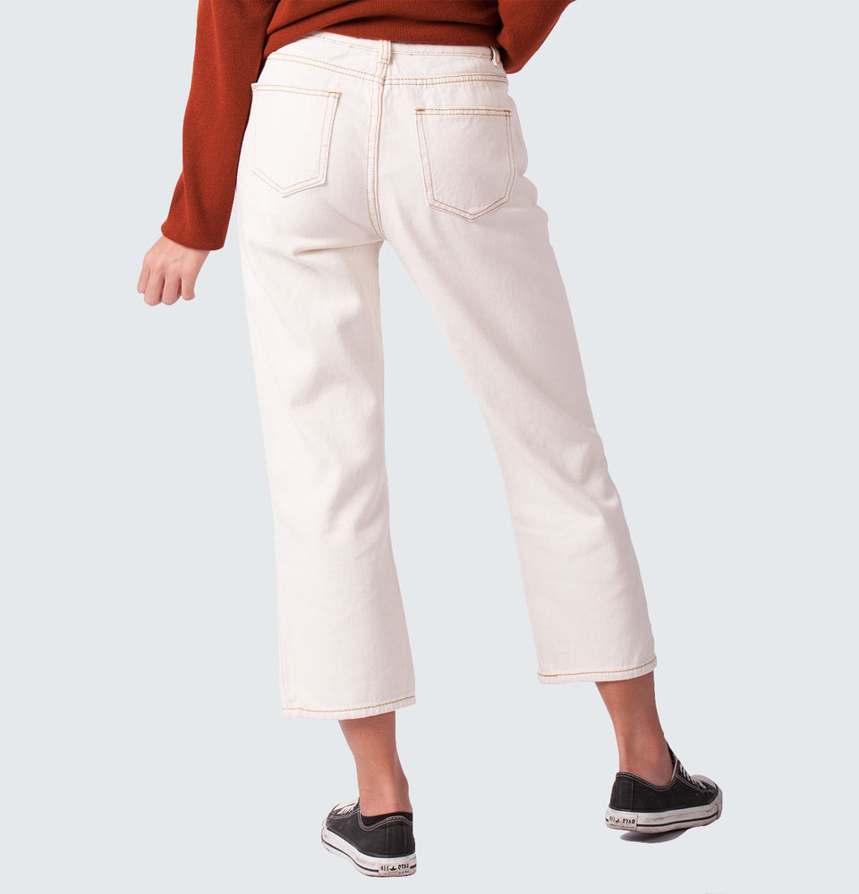 Hi Rise Straight Denim Pants - Mantou Clothing