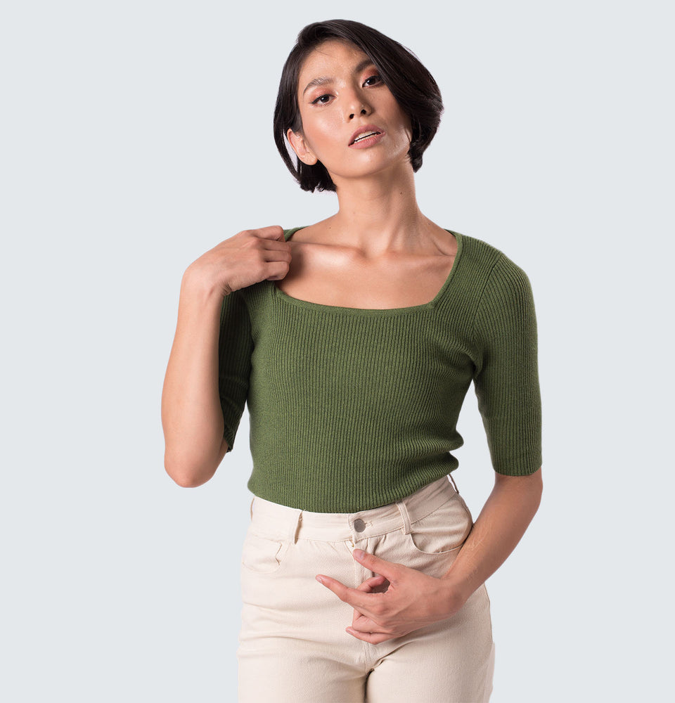 Hannah Square Neck Ribbed Top - Mantou Clothing