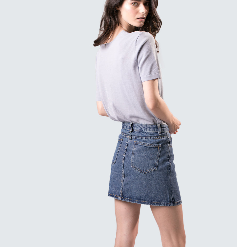 Ruth Denim Mini Skirt - Mantou Clothing