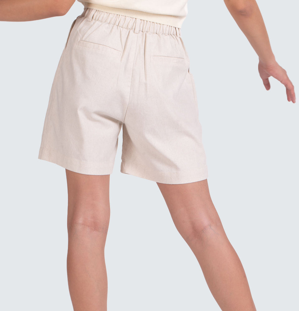 Cotton Linen  High Waist Shorts