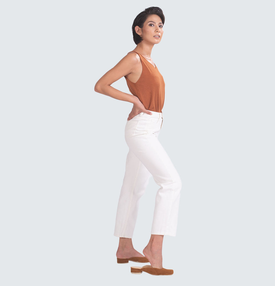 Ching Classic White Straight Leg Jeans