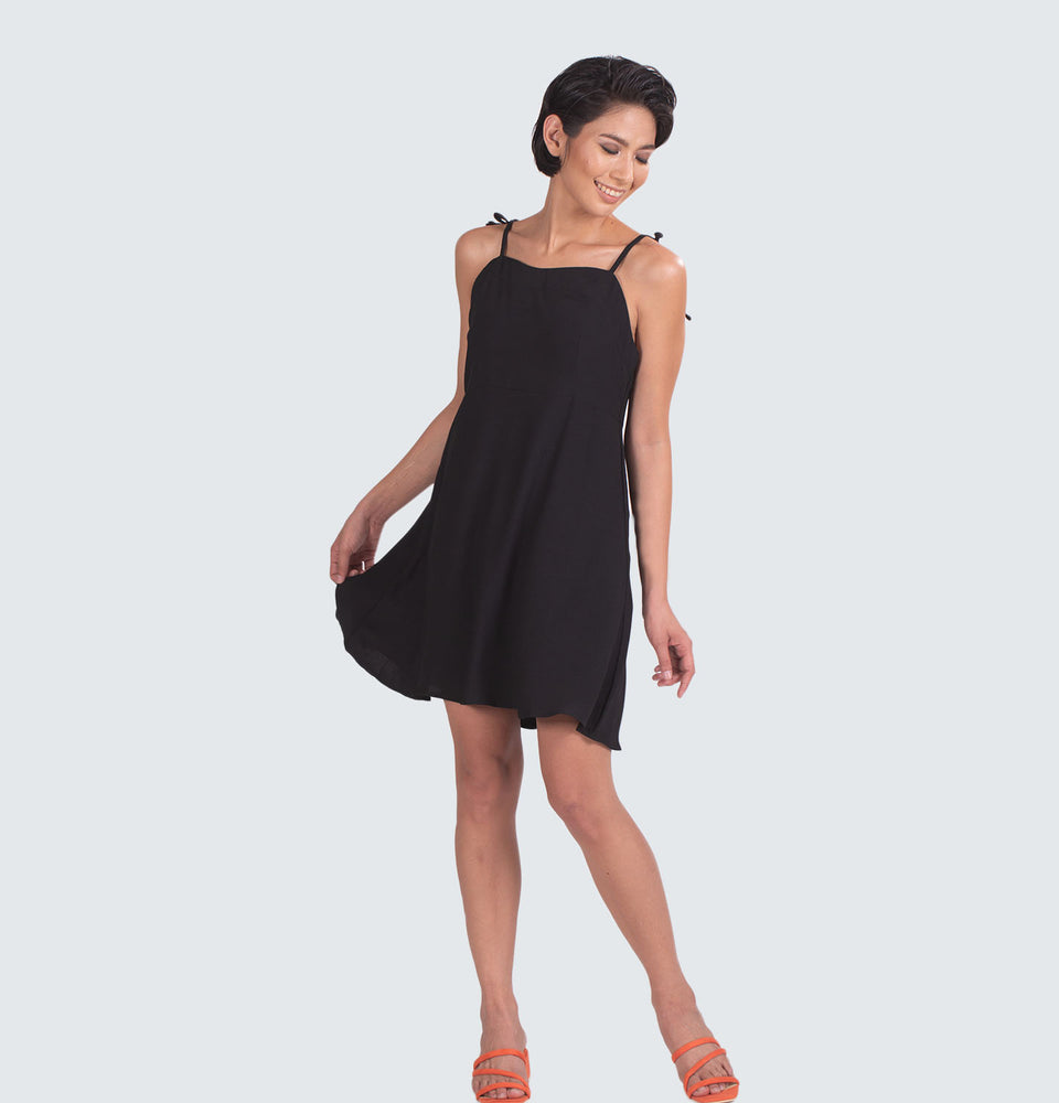 Tie Strap Black Mini Dress