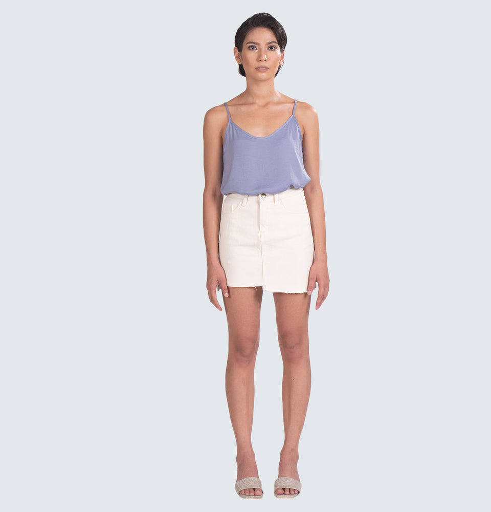 Zuri Cream Asymmetrical Skirt