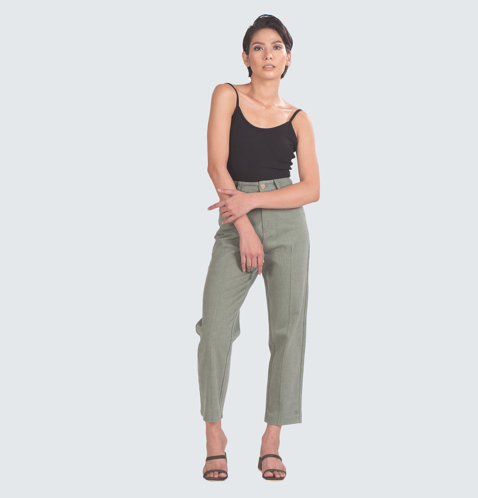 Slim Pleated Wide Leg Trousers