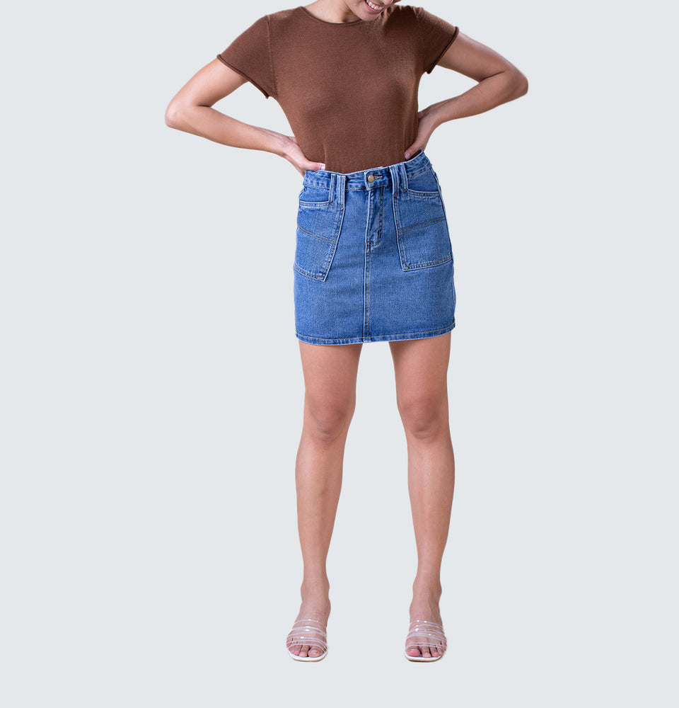 Wing Yan Denim Skirt - Mantou Clothing