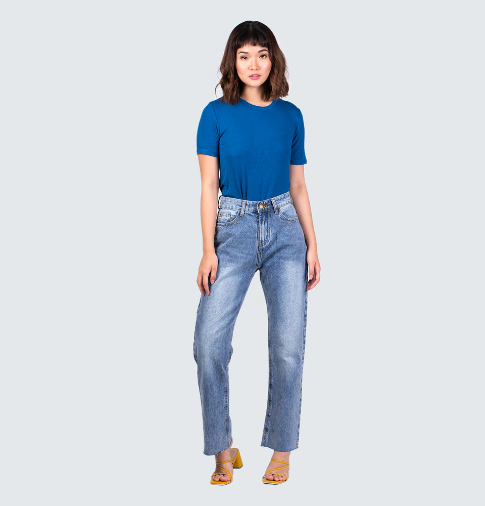 Euri Frayed Hem High Rise Straight Jeans