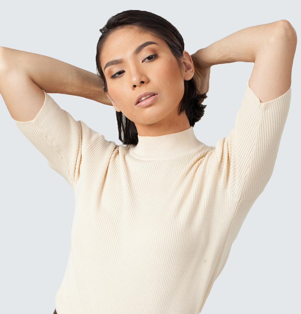 Highneck Ribbed Top - Mantou Clothing