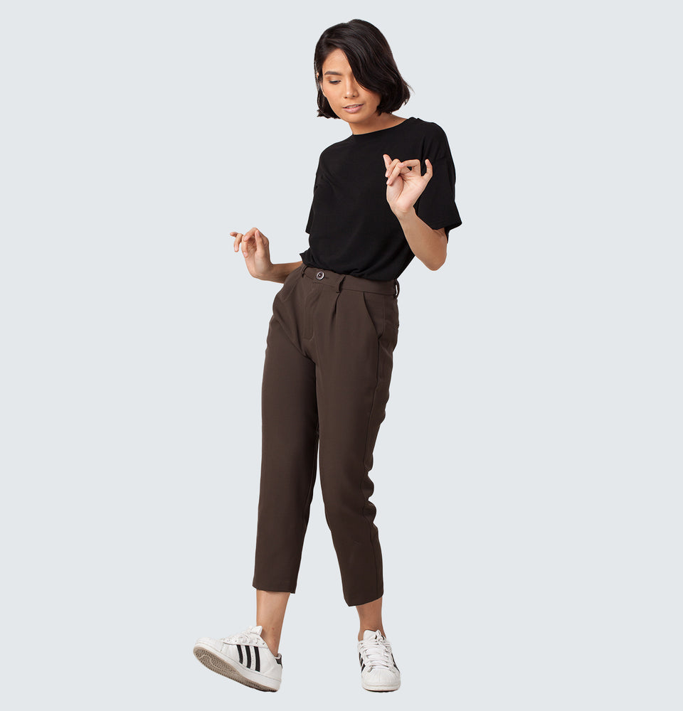 Coffee Brown Grandpa Trousers - Mantou Clothing