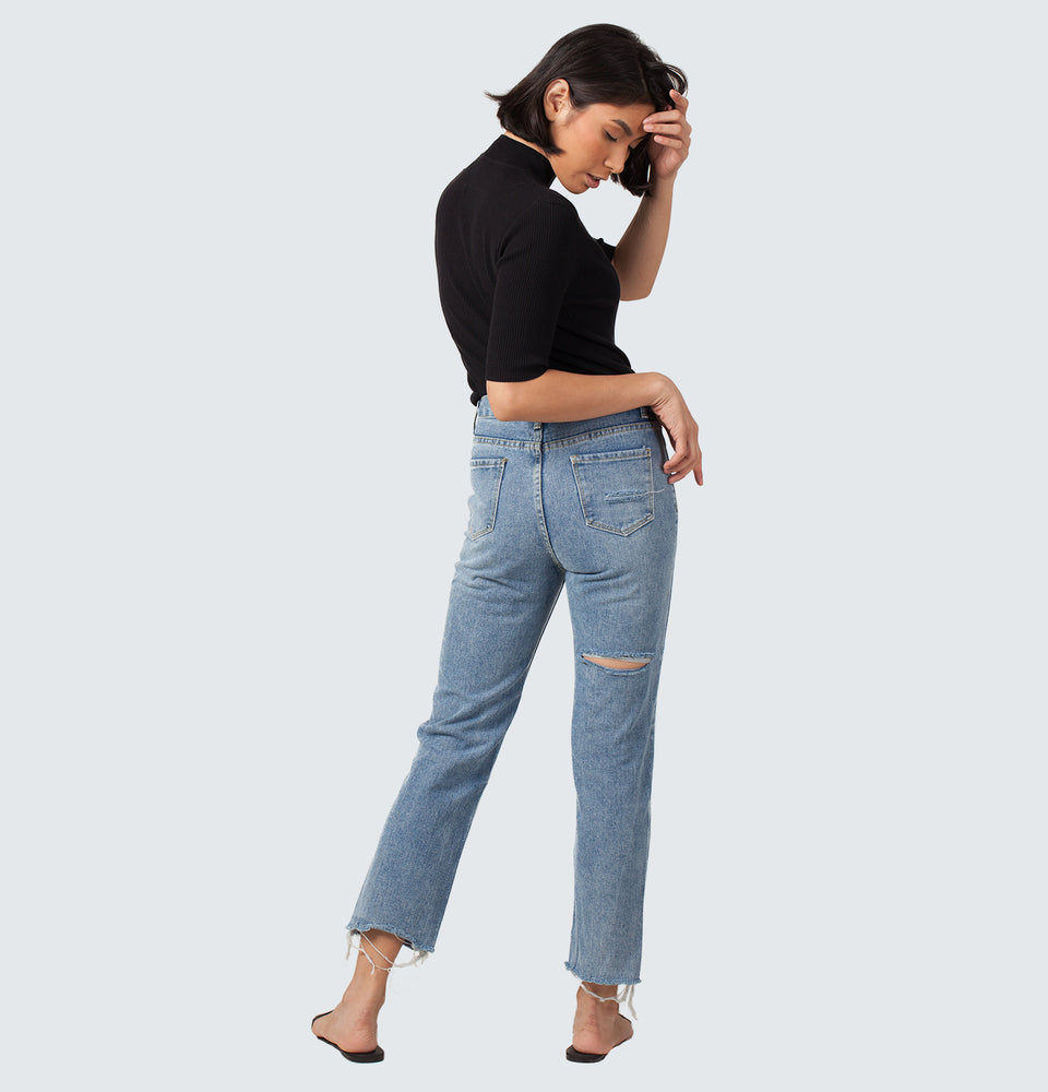 Back Ripped Jeans - Mantou Clothing
