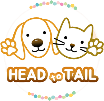 "head to tail, logo, beige circle, ombre light to dark head to tail letters, golden outline of golden retriever ""J"", mustard outline of cat ""JB"", colorful dots around circle"