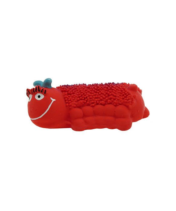red caterpillar rubber toy for dogs 3.5""