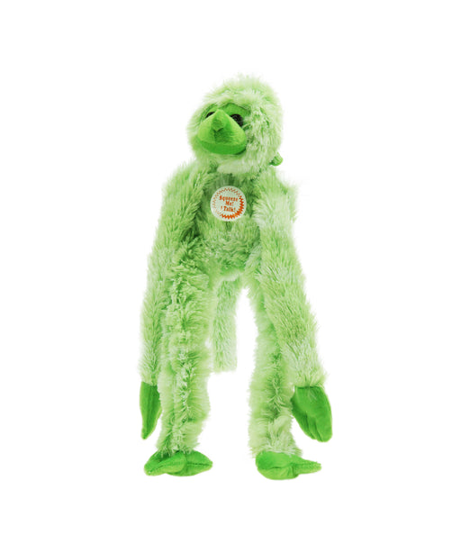 Stuffed long arm monkey toy with animal sound in green 15""