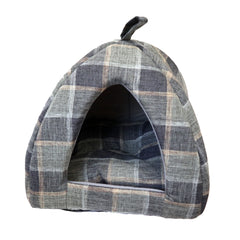 Blue Tartan Pet Tent Bed Beautifully Stitched bed for Dogs and Cats with Soft Reversible Pillow inside. Perfect for puppies or senior pets. Gorgeous and Comfortable