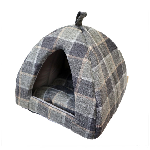 Blue Tartan Pet Tent Bed Beautifully Stitched bed for Dogs and Cats with Soft Pillow inside. Perfect for puppies or senior pets.