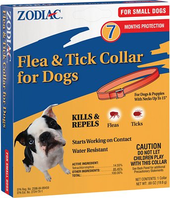 Zodiac Flea And Tick Dog Collar, For Small Dogs And Puppies 15 Inches, Red
