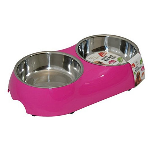 Double Pet Bowl  Fuchsia Medium