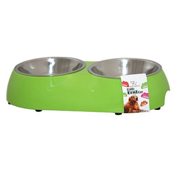 Double Pet Bowl  Lime Green Small