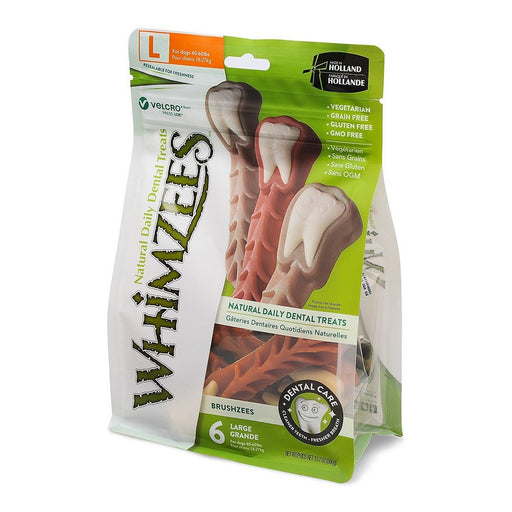 WHIMZEES Brushzees Natural Daily Dental Dog Treats large 6 count