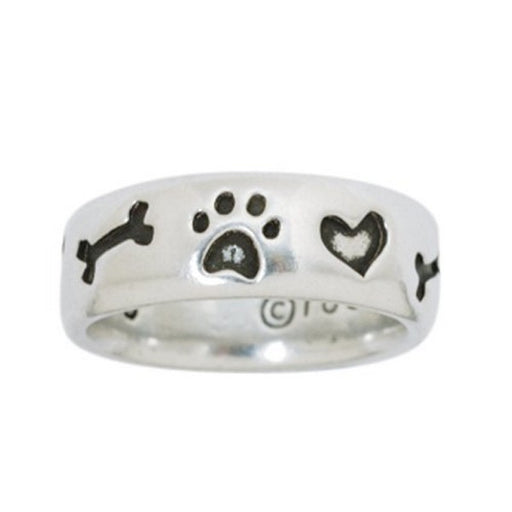 Rockin' Doggie Pewter Bone Ring With Paw And Heart, Medium