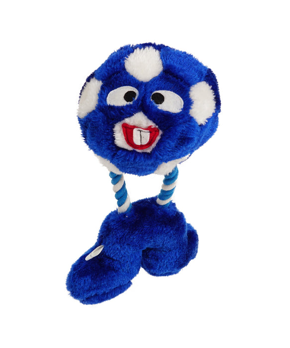 blue plush soccer ball with rope legs for dogs 11""