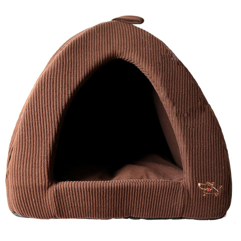 Brown Corduroy Pet Tent Bed Soft And Comfortable Bed Perfect for Puppies, kittens or senior pets. Made of Plush and foam Material with a soft pillow inside