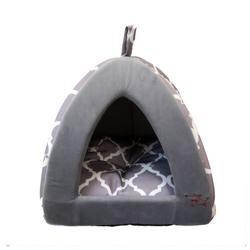 Reverse Clover Patterned Grey and White Pet Tent for Dog & Cats