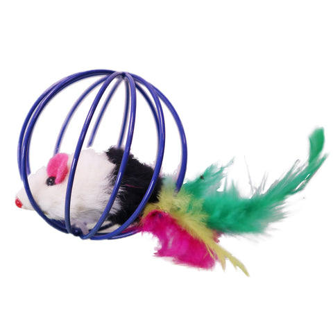 MultiColored Feather Tail Plush Furry Mouse Trapped in Blue Steel Wire Cage Endless Rolling Play for Enticing Cats and Kittens