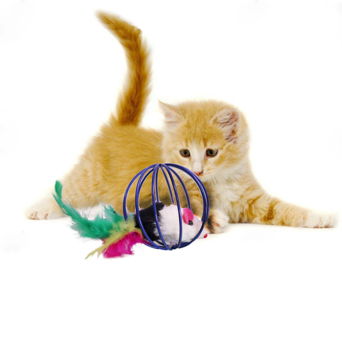 MultiColored Feather Tail Plush Furry Mouse Trapped in Blue Steel Wire Cage Endless Rolling Play for Enticing Cats and Kittens Model Kitten Playing