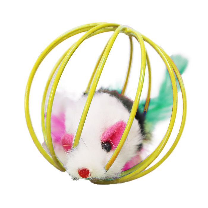 MultiColored Feather Tail Plush Furry Mouse Trapped in Yellow Steel Wire Cage Endless Rolling Play for Enticing Cats and Kittens