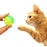 One Pack of 3 Piece Green Highlight Fish Paw Patterned Bell Ball Detailed Image with Model Cat